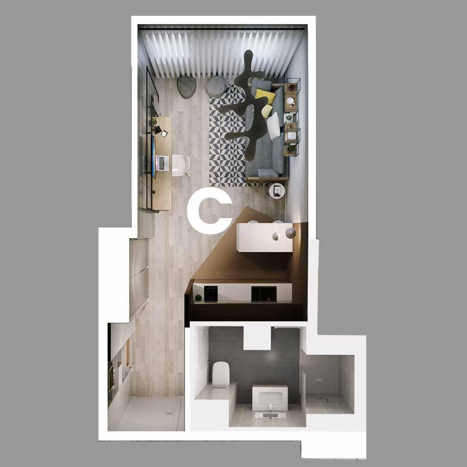 Appartement C - Type T1 - Résidence le Sphinx