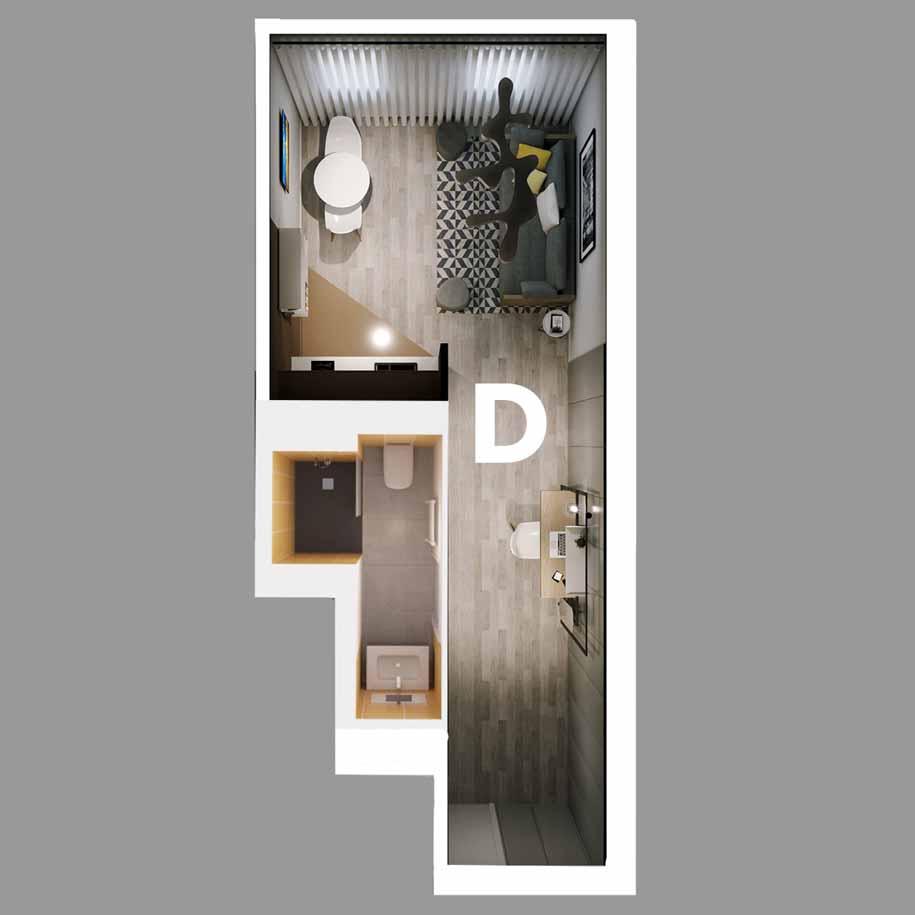 Appartement D - Type T1 - Résidence le Sphinx